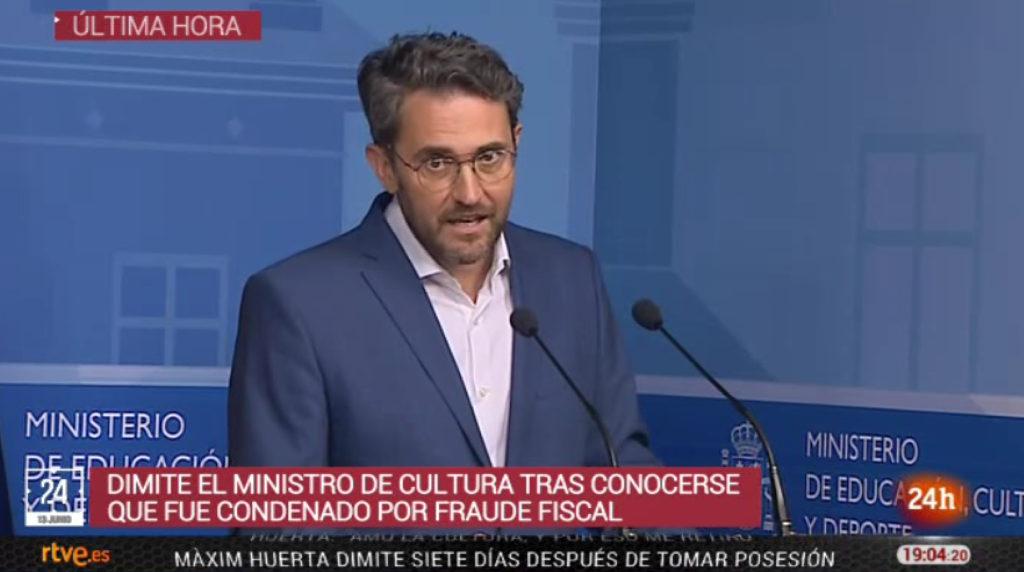 Una imagen de la rueda de prensa de Màxim Huerta emitida en directo por TVE.