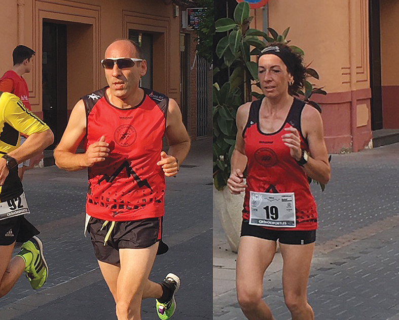 Los corredores buñolenses Joaquin Garrigues y Elena Cambres.