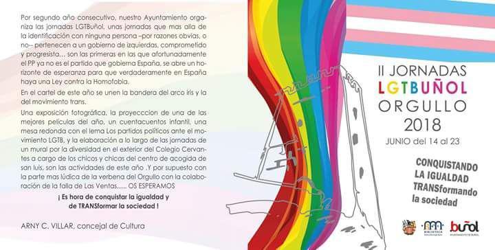 El Ayuntamiento de Buñol organiza por segundo año consecutivo las Jornadas LGTBuñol.