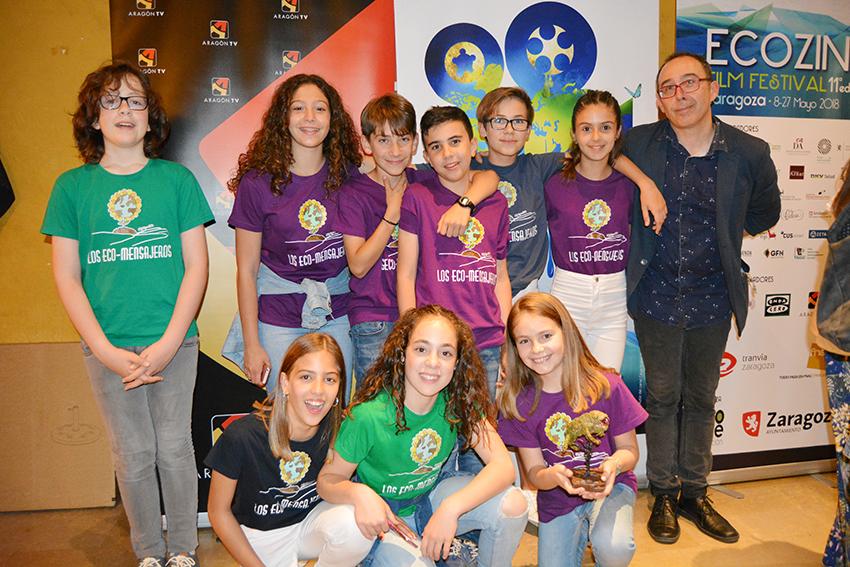Las alumnas y alumnos del Colegio de Yátova premiados en el concurso de Zaragoza.