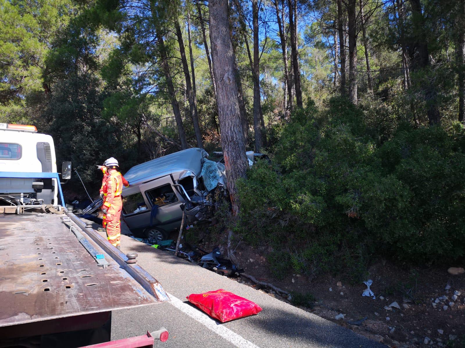 Los bomberos han tenido que excarcelar a los dos accidentados.