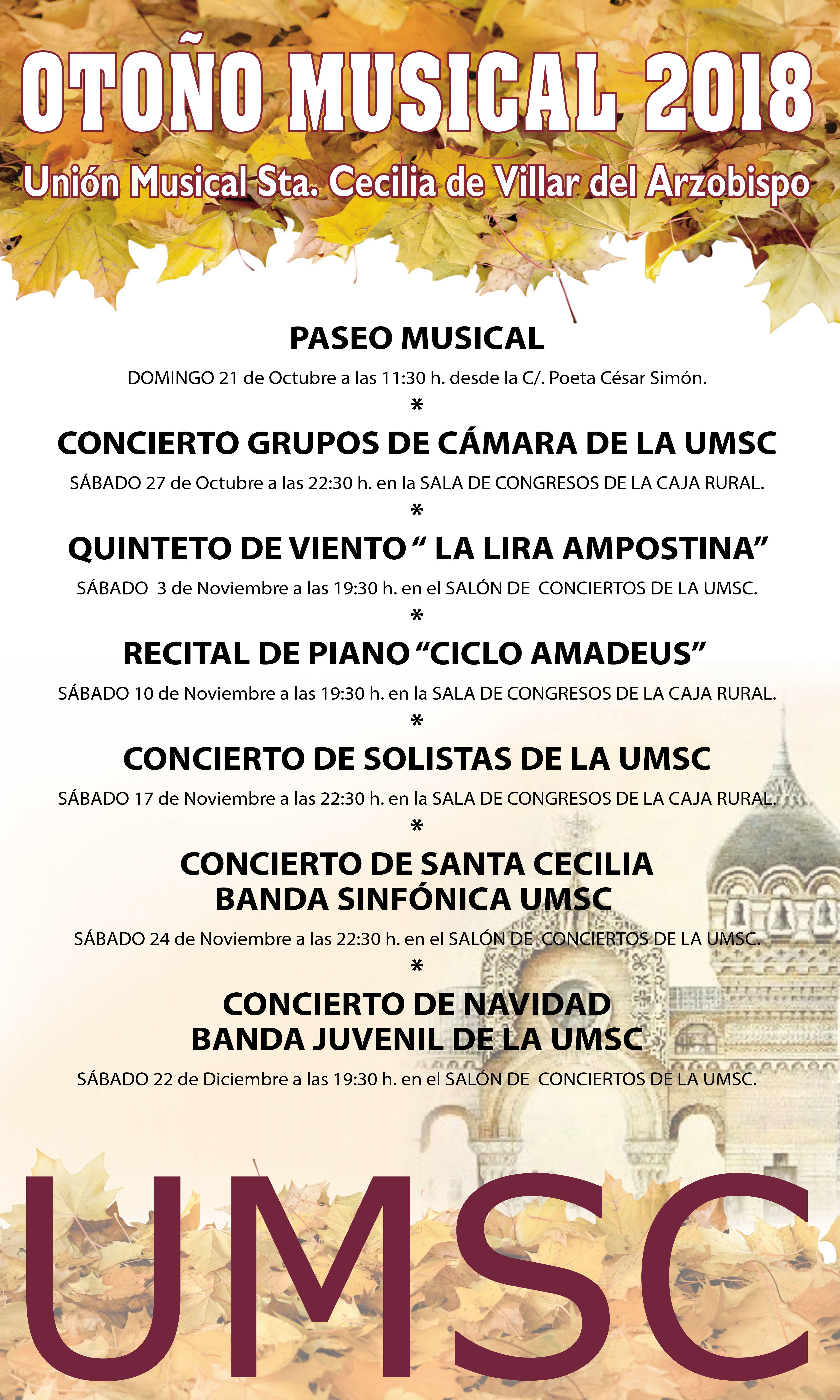 Programación del Otoño Musical de la UMSC de Villar del Arzobispo.