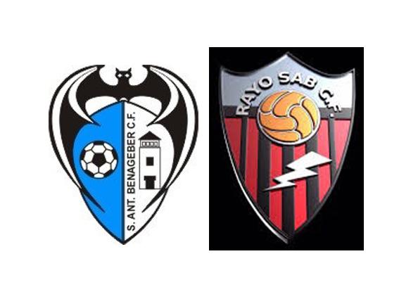 Escudos del San Antonio de Benagéber CF y del Rayo de San Antonio de Benagéber.