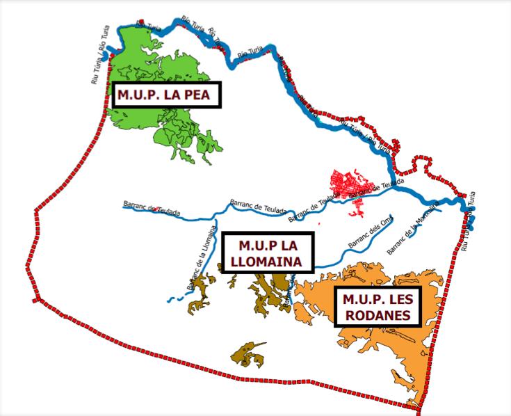 Mapa del término municipal de Vilamarxant.