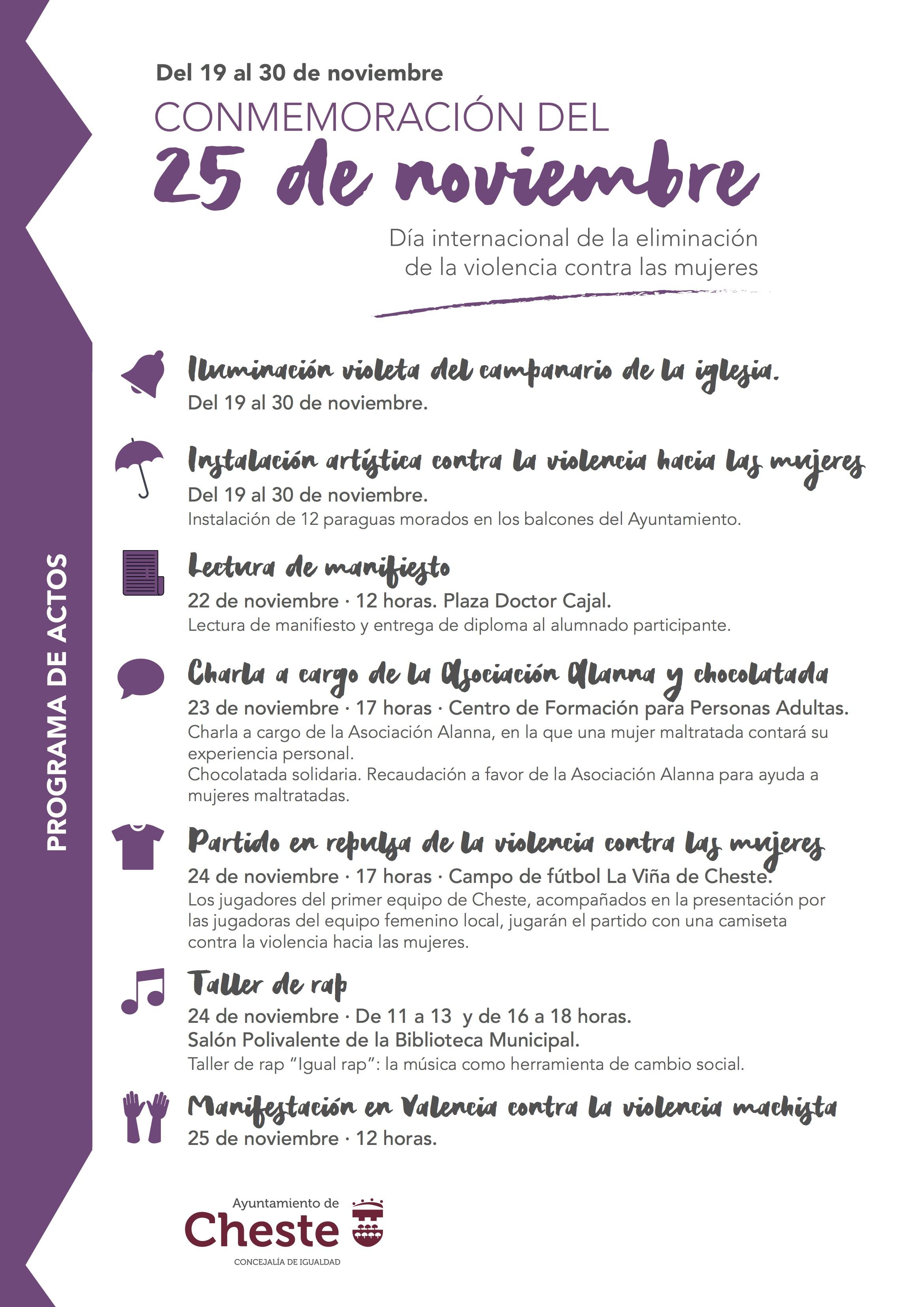 Programa de actos conmemorativos del Día Internacional de la Eliminación de la Violencia Contra las Mujeres.