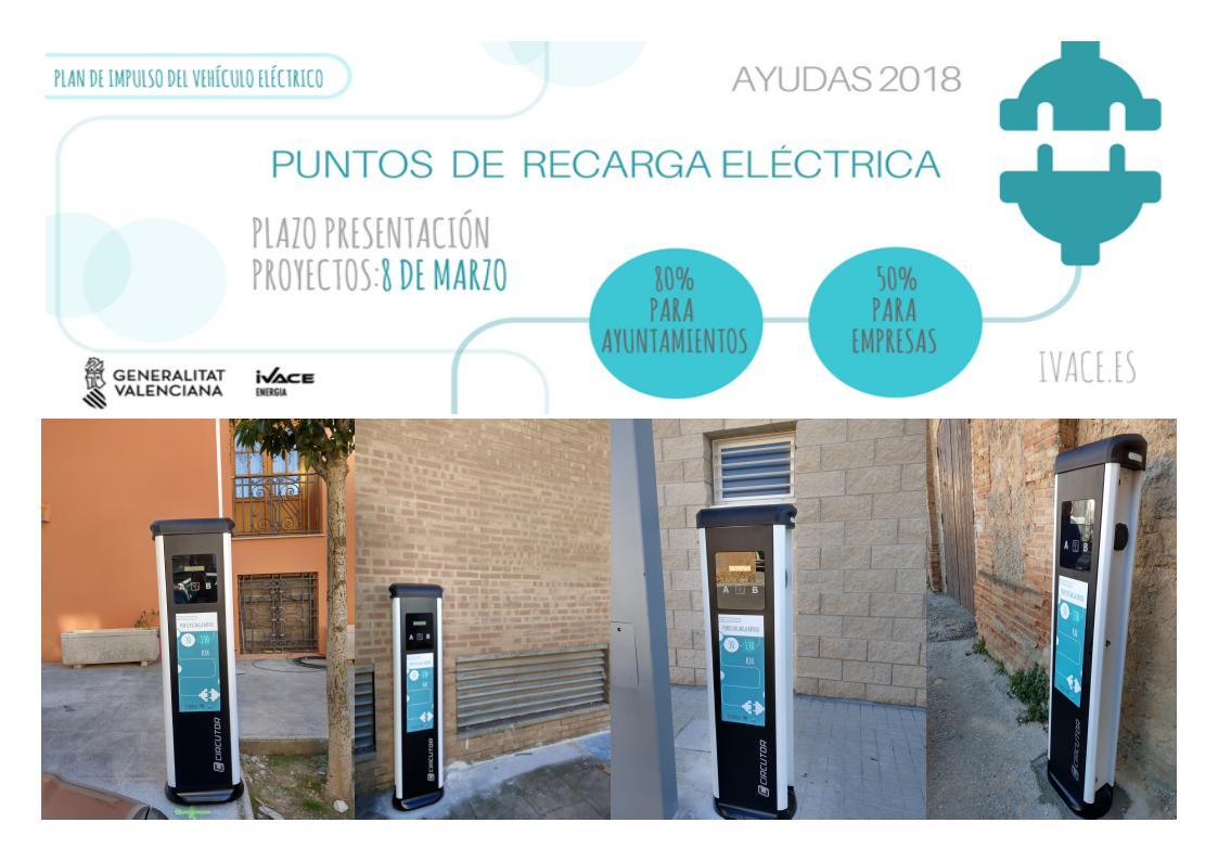 El Ayuntamiento de Requena instala una estación de recarga para vehículos eléctricos de acceso público.