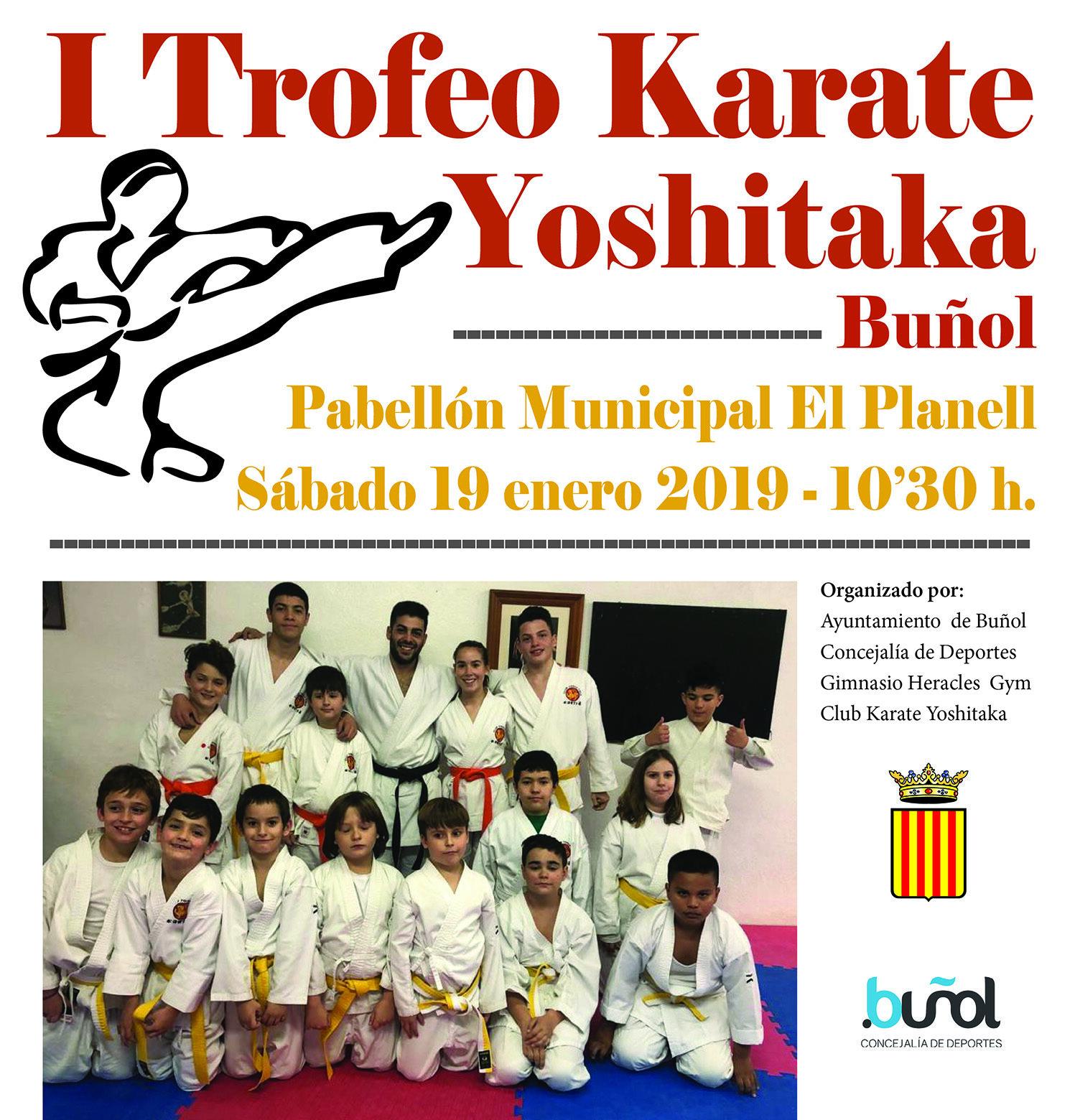 El Pabellón Municipal del Planell de Buñol alberga el I Trofeo Karate Yoshitaka el próximo 19 de enero.