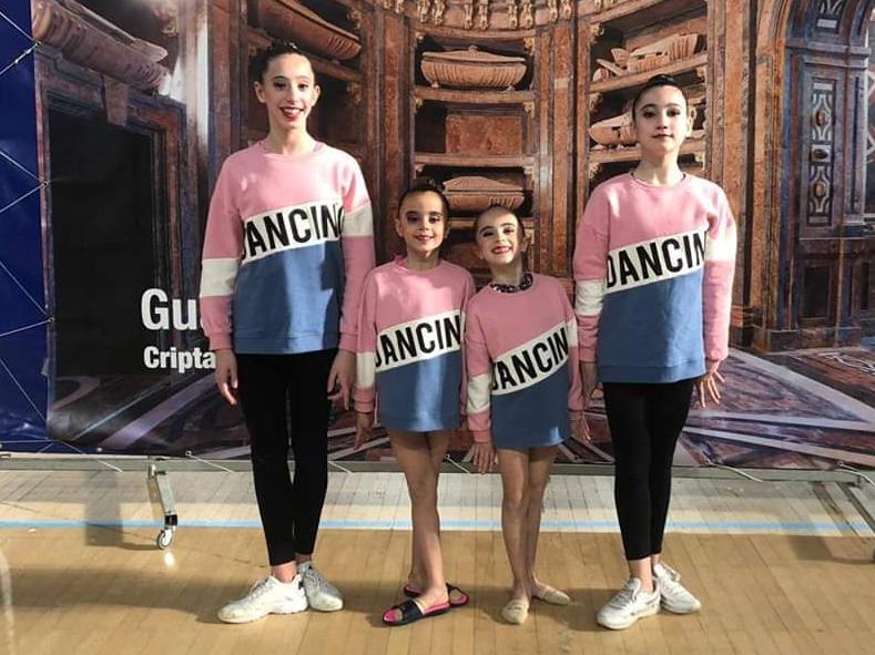 La gimnastas Ángela Miguel, Paola Iranzo, Amaia Fuertes y Eva Oliva, en Guadalajara.
