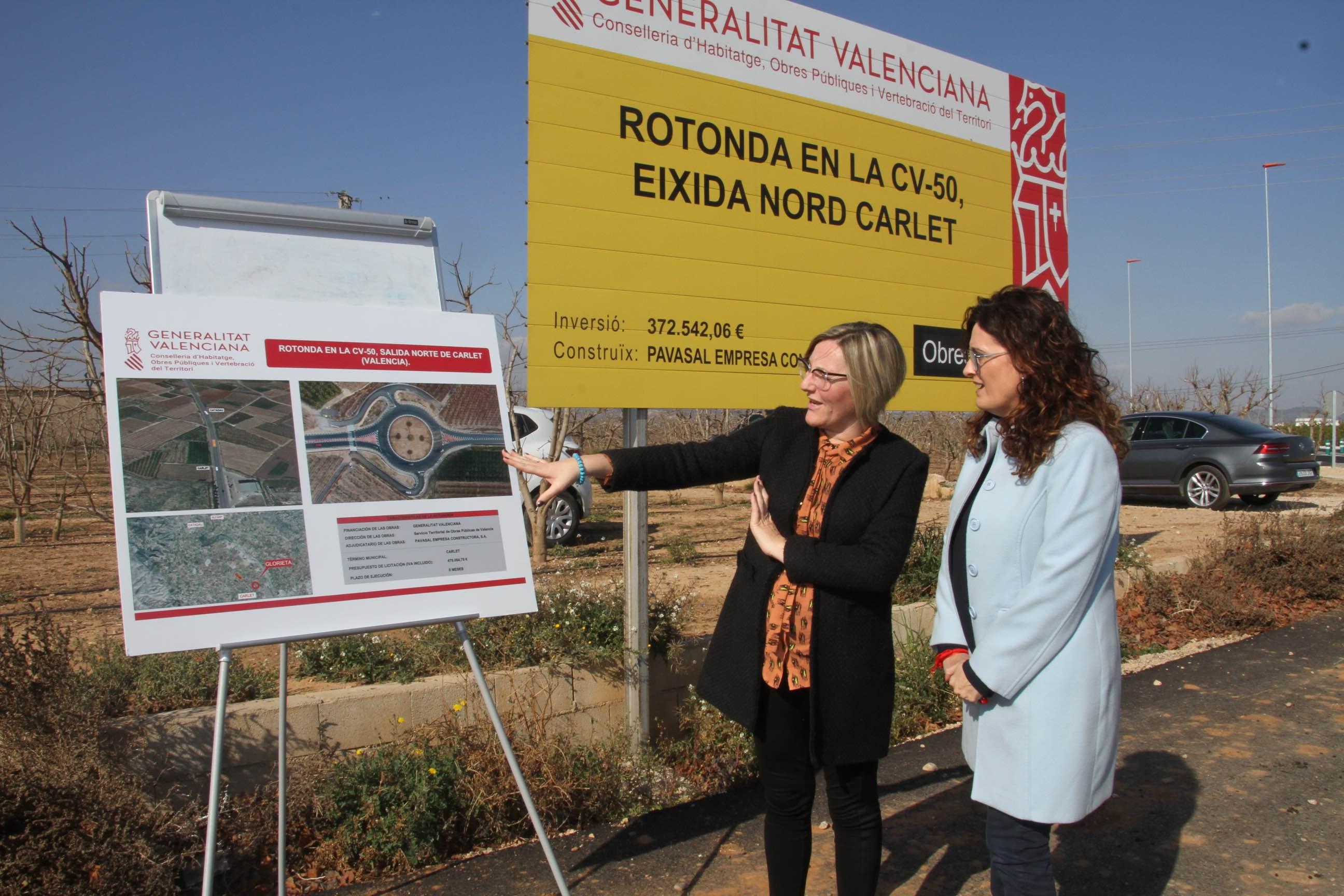 María José Salvador ha visitado las actuaciones de la Generalitat en la futura ronda urbana de Carlet.
