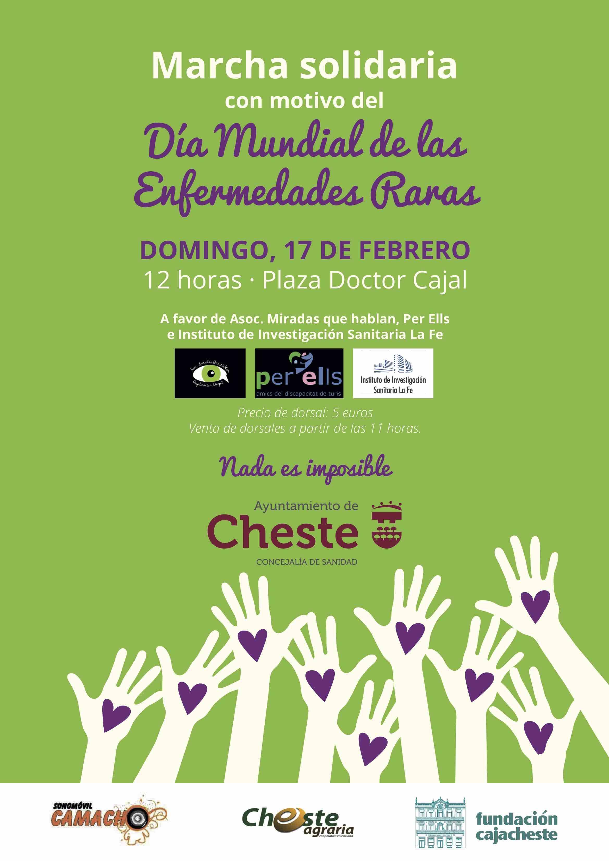 Este domingo, 17 de febrero, tendrá lugar una marcha solidaria, a las 12 horas, desde la plaza Doctor Cajal.