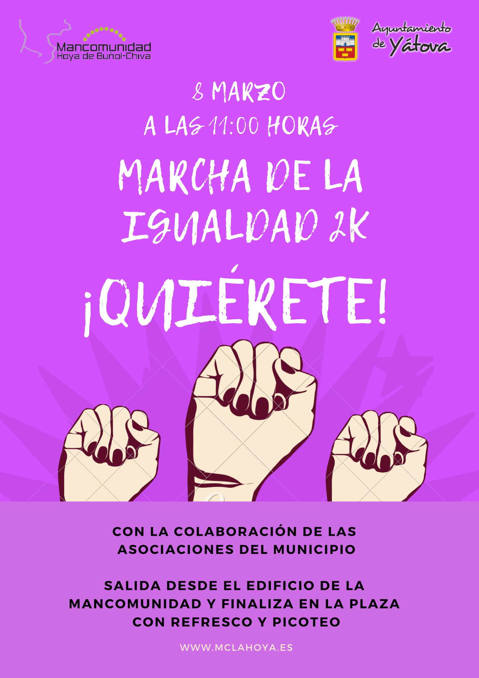La Mancomunidad organiza una Marcha de la Igualdad el 8 de marzo con motivo del Día Internacional de la Mujer.