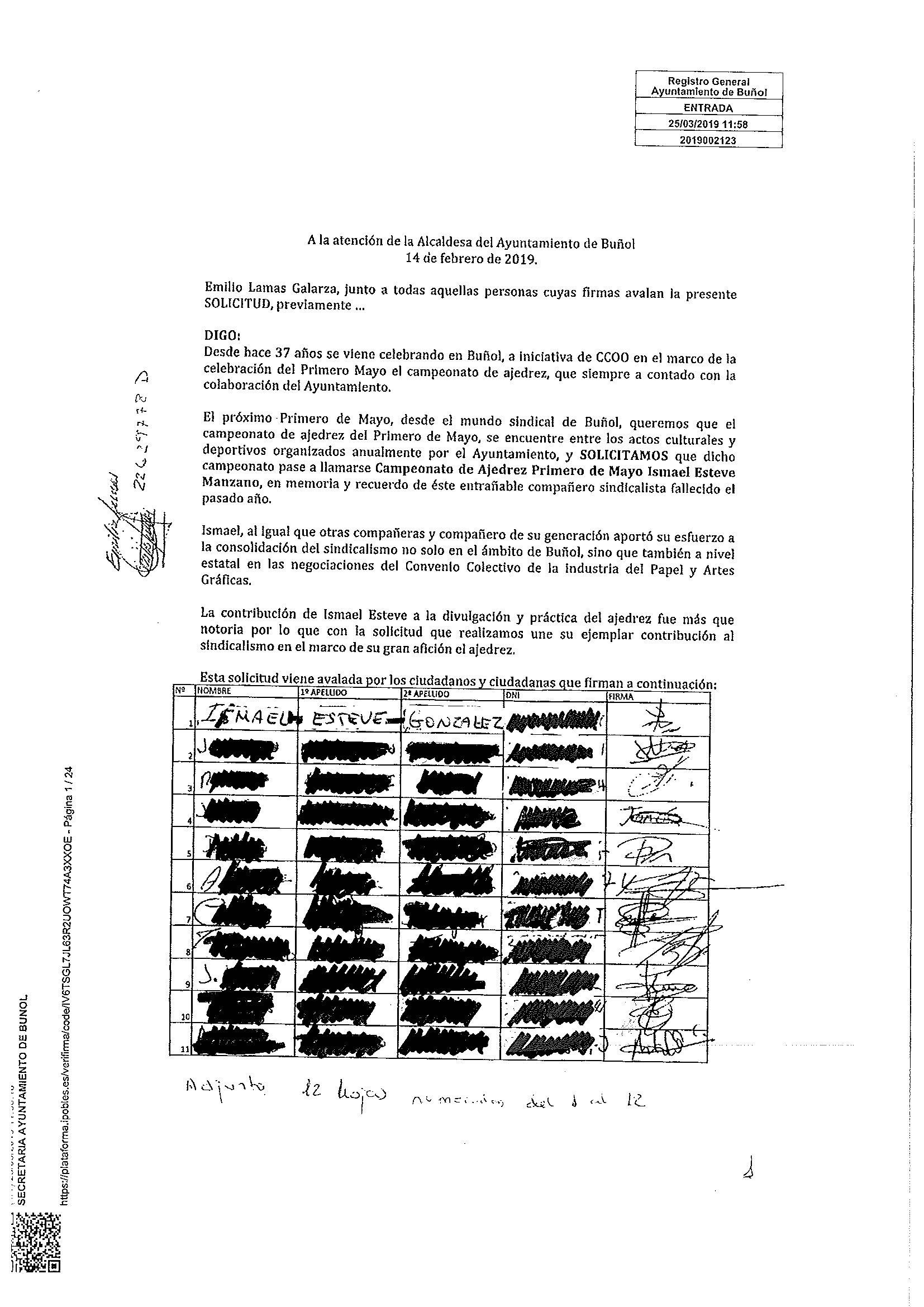 Primera página del pliego de firmas entregado por CCOO.