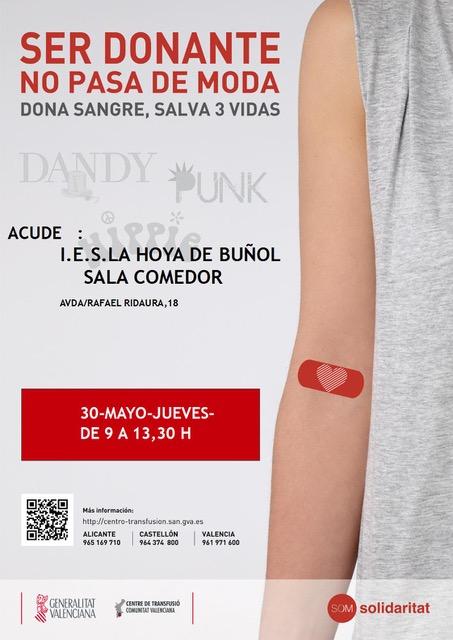 En el IES La Hoya de Buñol por primera vez, tendrá lugar una jornada de donación de sangre, entre las 9 y las 13,30 horas.