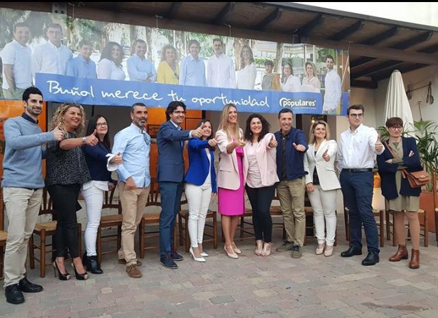 Integrantes de la candidatura del PPbuñolense que lidera Marcial Díaz.