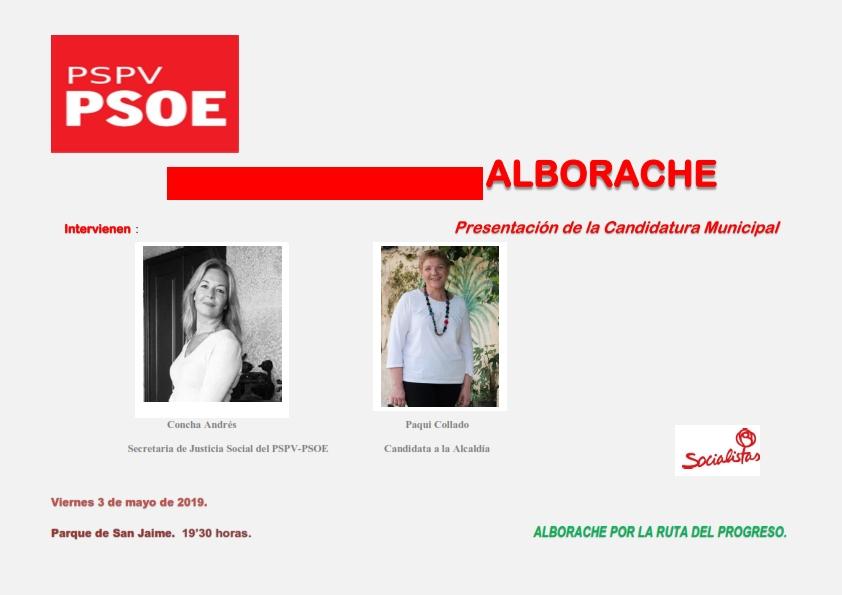 En el acto intervendrán Paqui Collado, candidata a la alcaldía de Alborache por el PSPV-PSOE, y Concha Andrés, Secretaria de Acción Social del PSPV-PSOE.