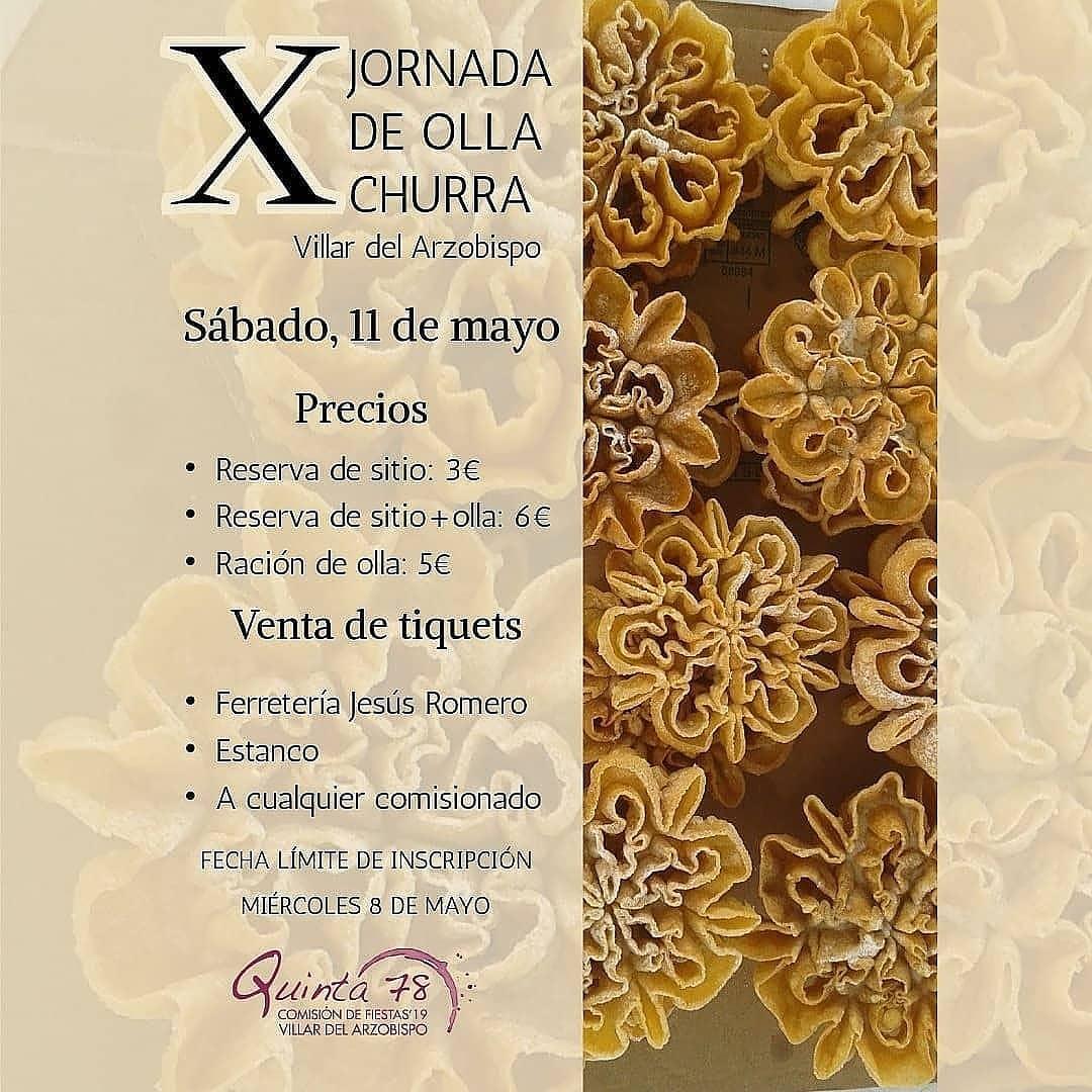 Este sábado 11 de mayo se celebrará en Villar del Arzobispo la X Jornada de la Olla Churra.