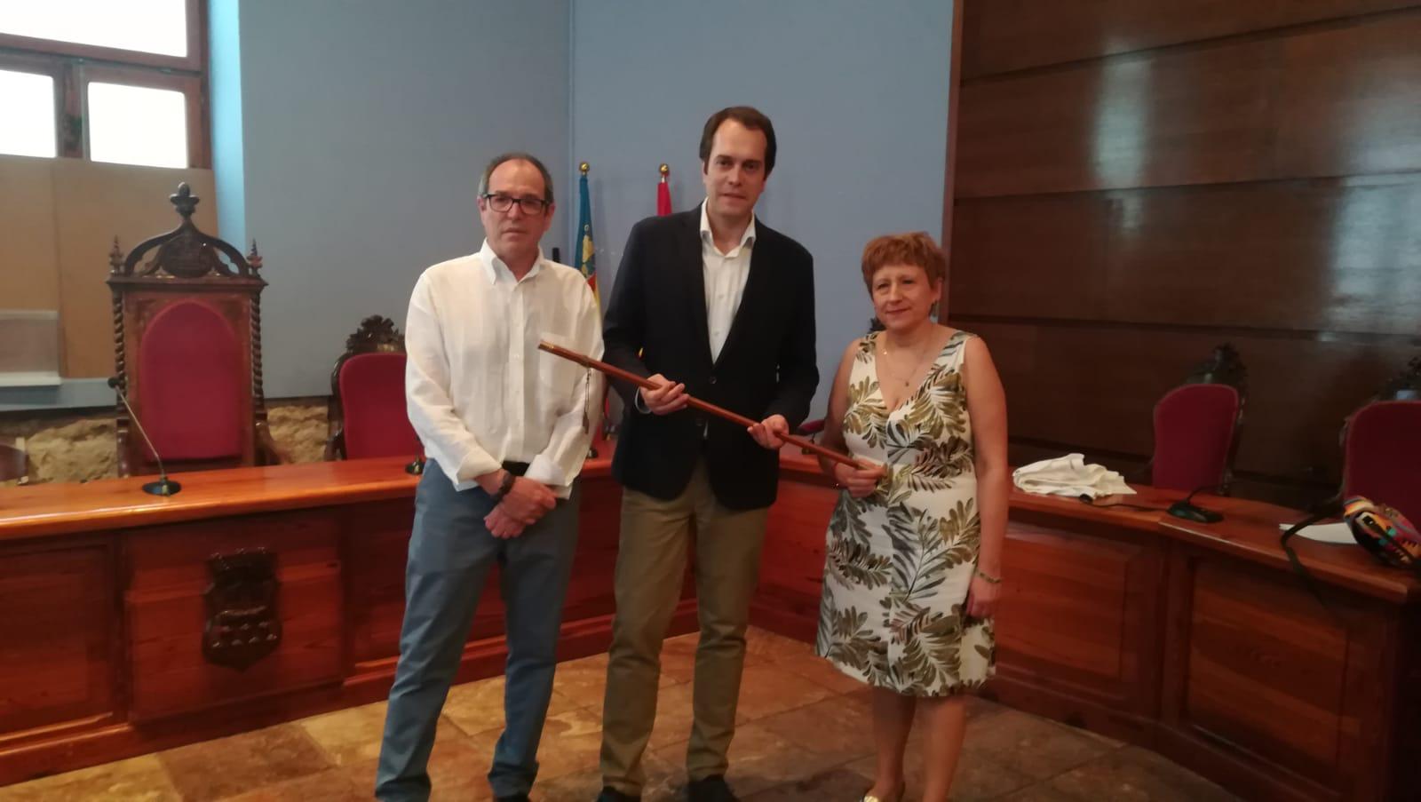 Los líderes de Compromís, José Vicente Guijarro; del PSOE, José Morell; y de EU, María Ángeles Llorente.