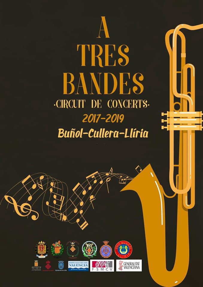 """El próximo 6 de julio tendrá lugar en Buñol el concierto """"A tres Bandas"""" de la Asociación Musical Buñol-Cullera-Llíria."""