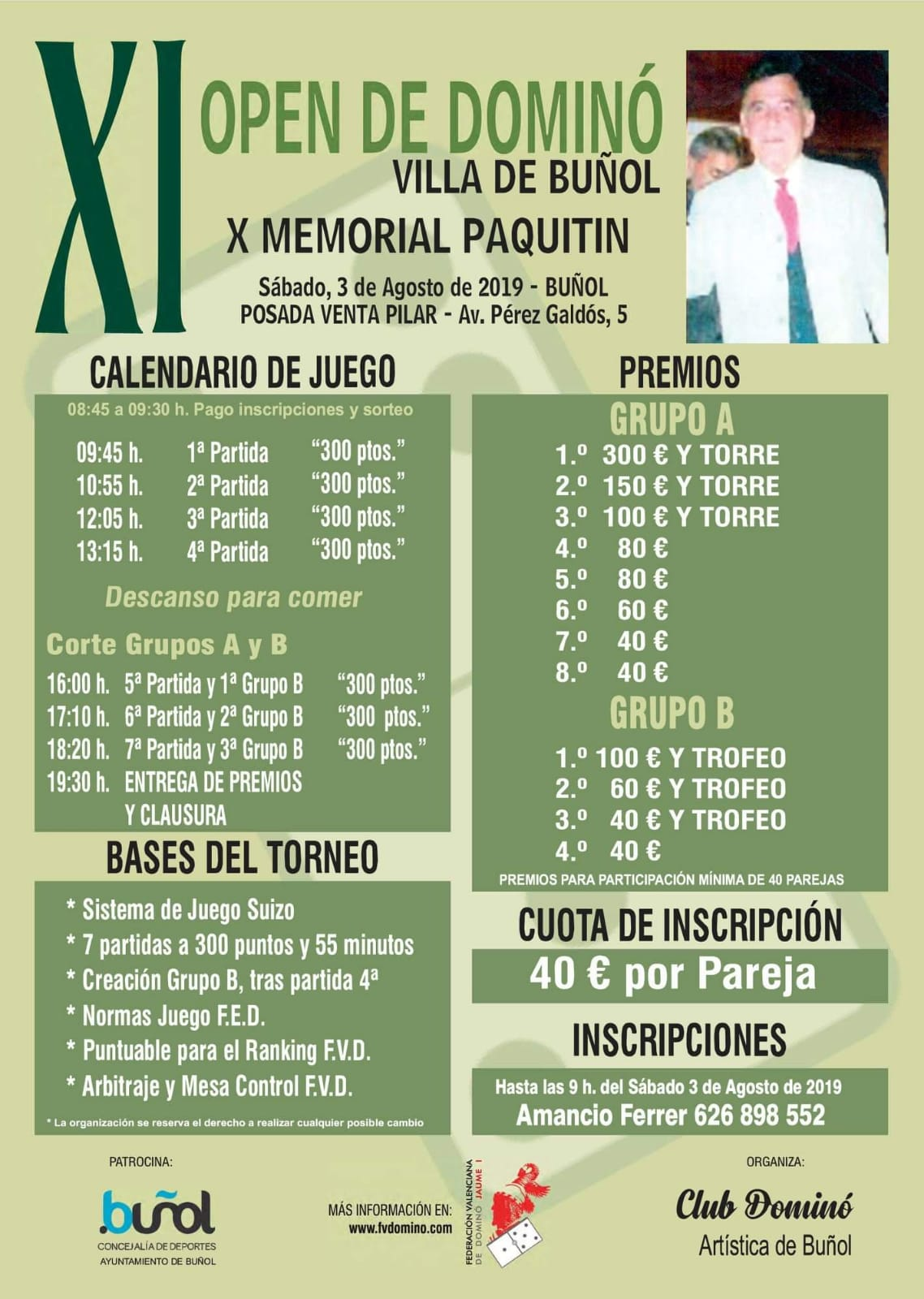 Buñol acogerá el próximo 3 de agosto el XI open de dominó Villa de Buñol X memorial a Paquitín