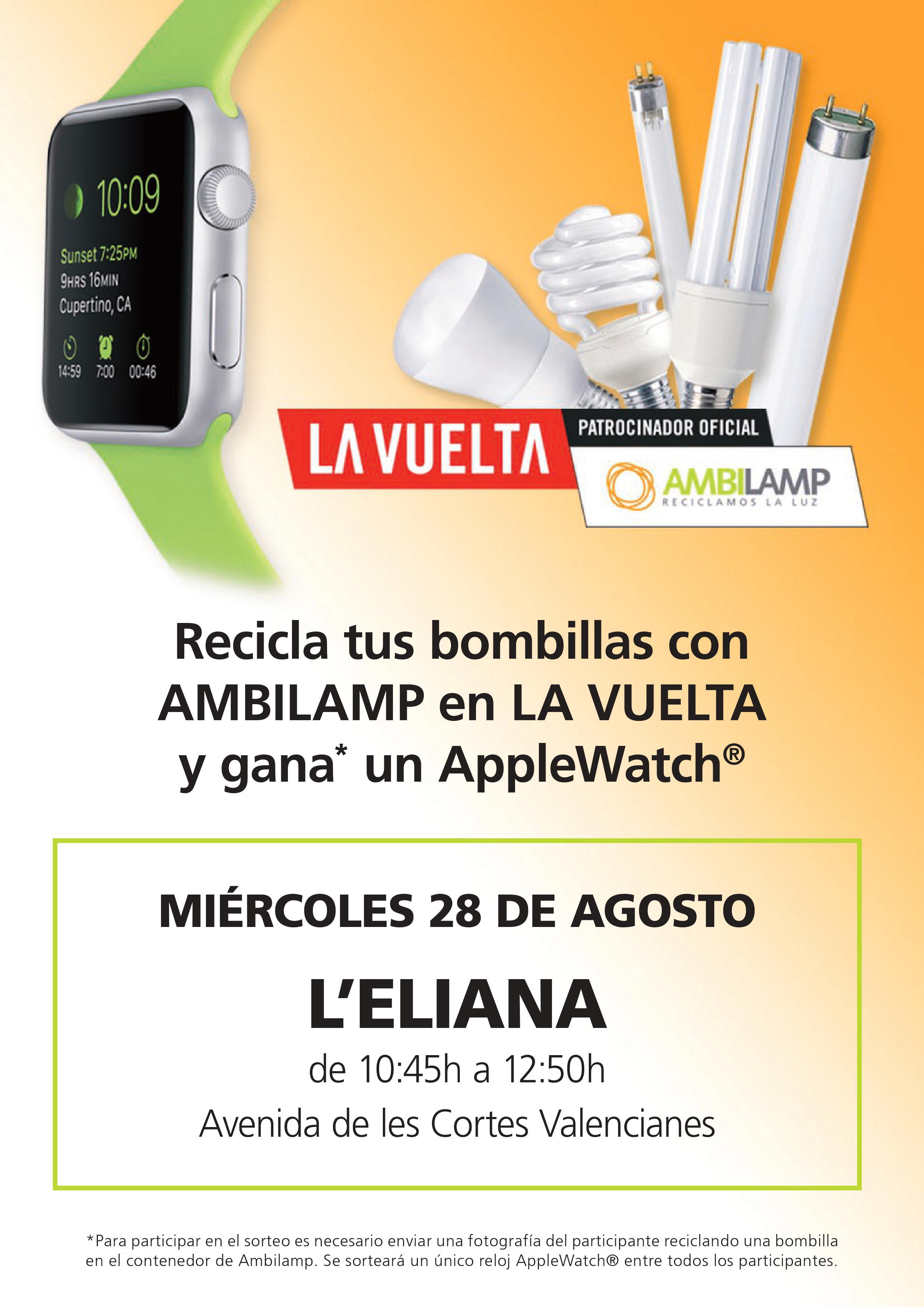 Los ciudadanos y ciudadanas que lleven bombillas o fluorescentes fundidos al stand de Ambilamp recibirán un regalo seguro y participarán en el sorteo de un reloj AppleWatch