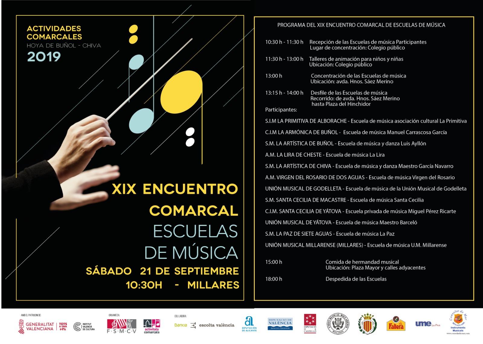 Millares acogerá el próximo 21 de septiembre el XIXEncuentro de escuelas de música.