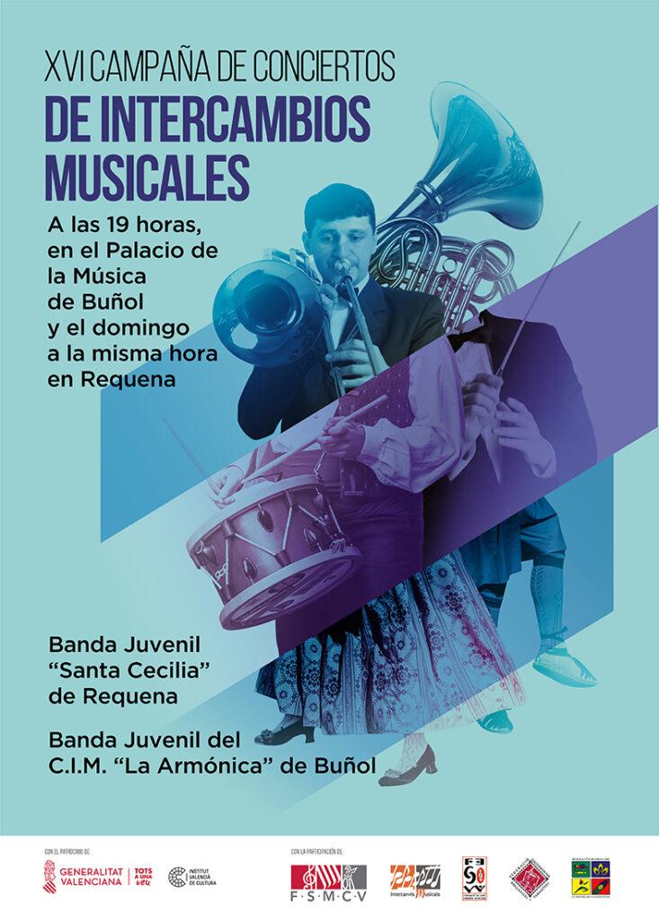 La Banda Juvenil de La Armónica recibe a la Banda Juvenil Santa Cecilia de Requena.