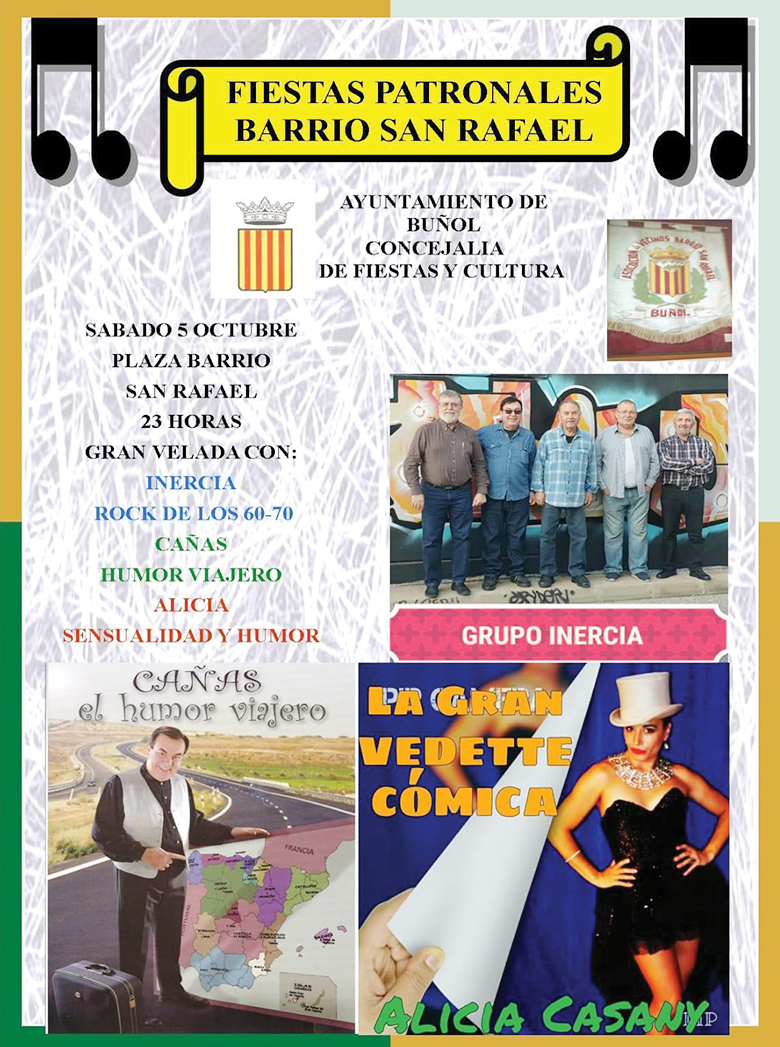 Cartel de los actos de las fiestas del Barrio San Rafael confeccionado por los vecinos.