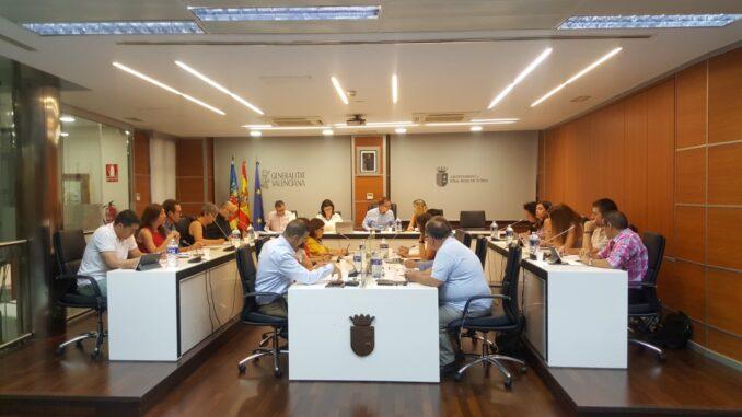 El pleno del Ayuntamiento de Riba-roja de Túria de la legislatura 2019-2022.