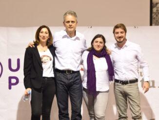 Mati Más, Héctor Illueca (Podemos), Roser Maestro y Rafa Pérez (Esquerra Unida).