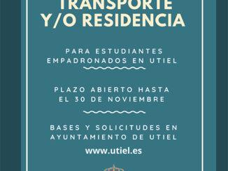 El Ayuntamiento de Utiel convoca ayudas al transporte y residencia para estudiantes empadronados en el municipio.