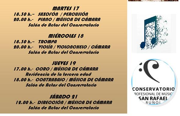 """El Conservatorio Profesional """"San Rafael"""" de Buñol inicia su Semana de Audiciones del 16 al 21 de diciembre de 2019."""